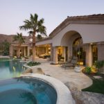 Custom Home Exterior Back Yard with Pool