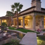 Custom Home Exterior Landscaping with Pond and Streams