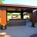 custom covered patio over touside bar