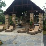 Covered residential patio and outdoor kitchen.