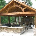 Custom residential covered patio and outdoor kitchen.