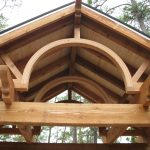 Close up of timber truss cover patio.